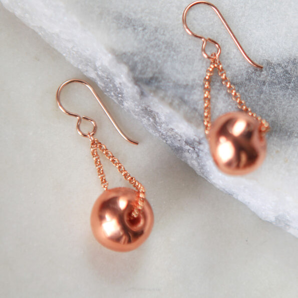 Coppertone ceramic bead EARRINGS. Handmade crafted in Australia, Melbourne. These are ceramic beads on a gold filled chain & hook. Diff lengths available on request. Limited Editions by next romance jewellery. handmade in Australia.