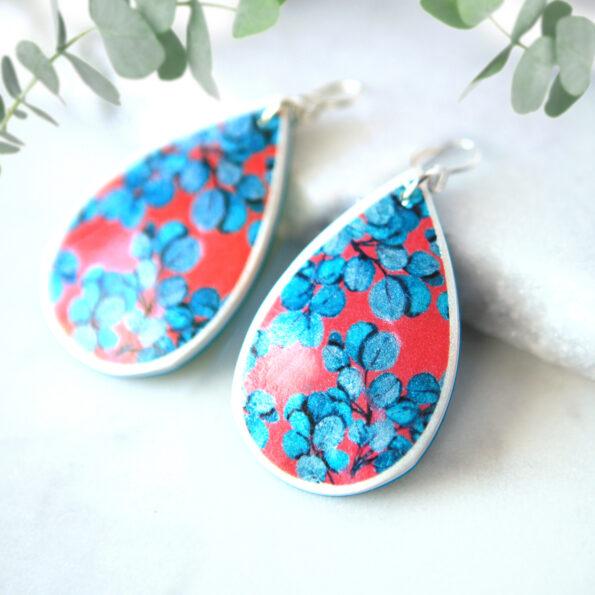 eucalyptus blue RED crop next romance jewellery australian made earrings flora sml