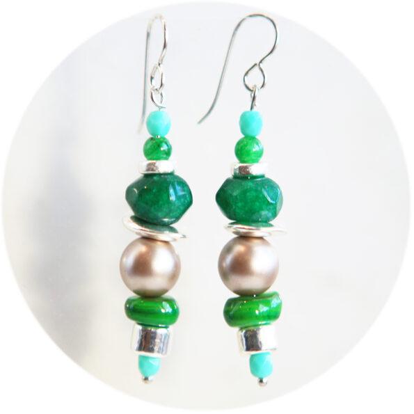 gemline raw emerald pearl bead bar earrings unique original jewellery handmade in australia New Next Romance