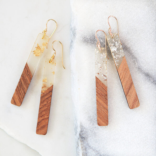gold silver flakes in rein and wood earring next romance jewellery australia