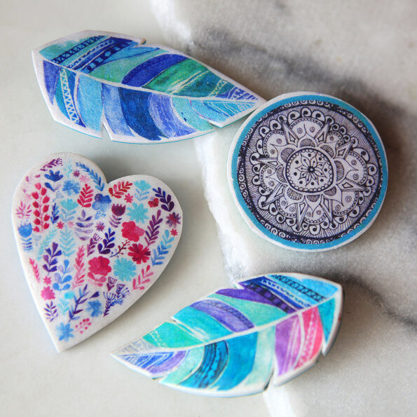 heart and feather and mandala brooches ny Next Romance jewellery artisan designs made in australia