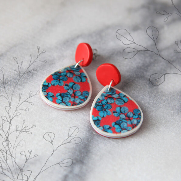 red blue gum earrings STUDS RED stud top new next romance jewellery sketch insta