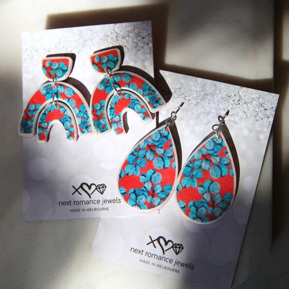 eucalyptus gum leaf earrings statement big design new next romance jewellery australian made unique