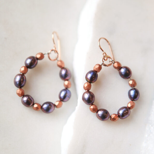 rose gold grey pearl and bead earrings new next romance jewellery design made in australia