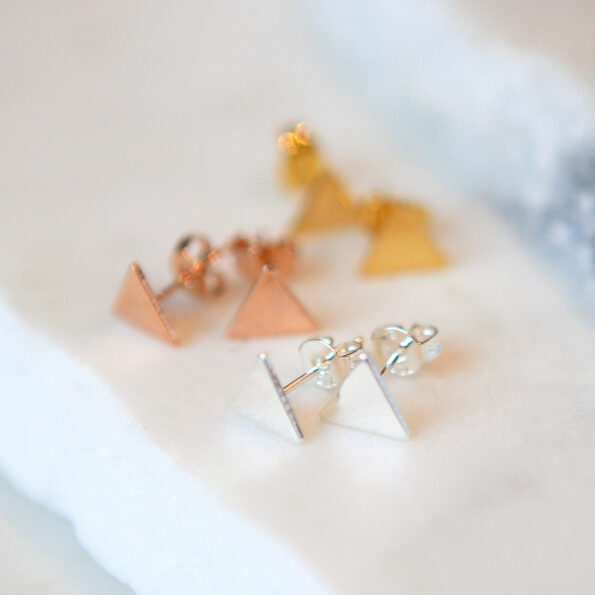 silver triangle earrings studs new next romance jewellery design geometric