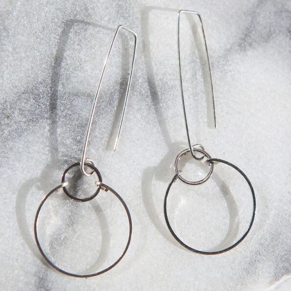 Tension hoop long sterling silver hooks sassy funky circle earrings. Next Romance jewellery Collection. FREE SHIPPING @themakeitcollective on high street Northcote indiefashion colourful virtualmarket handmadecanberra