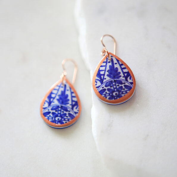 blue ceramic pattern copper trim earrings by next romance jewellery australian made