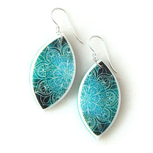 MANDALA marquis art earrings green next romance unique jewellery gift idea