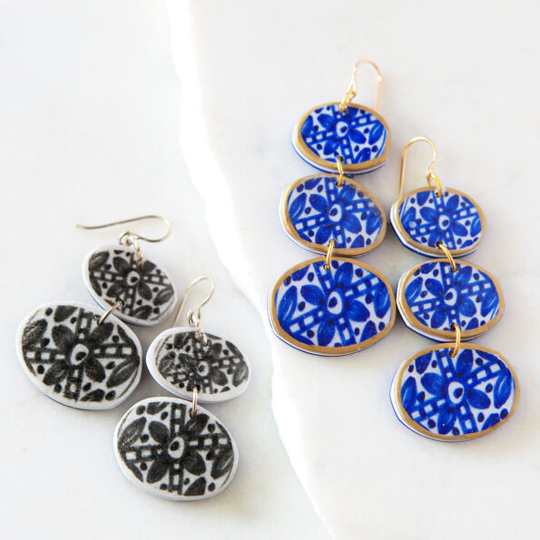 New Blue INK ceramic style design earrings organic triple coin handcrafted next romance