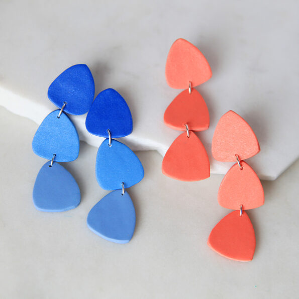 POC project clay triangle stud dangle statement earrings next romance colour life fun jewellery made in australia