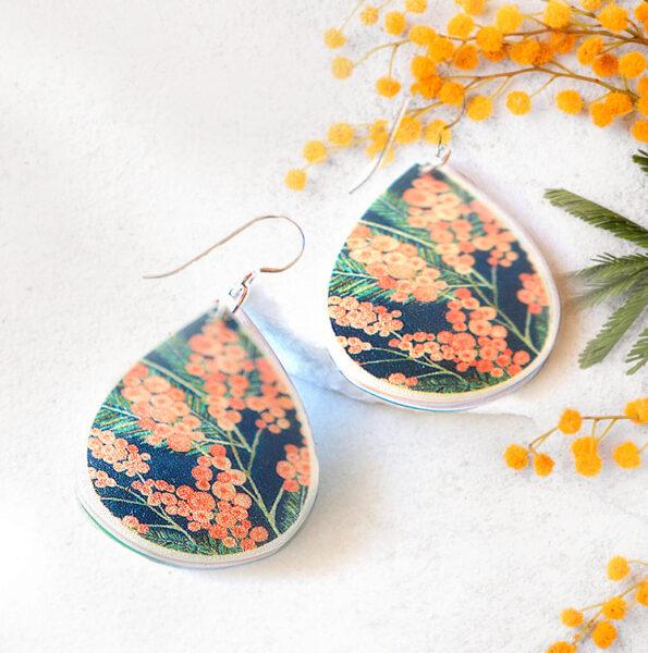 small wattle earrings hook green next romance jewellery