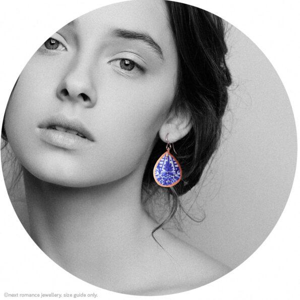 blue ceramic pattern copper trim earrings by next romance jewellery australian made model