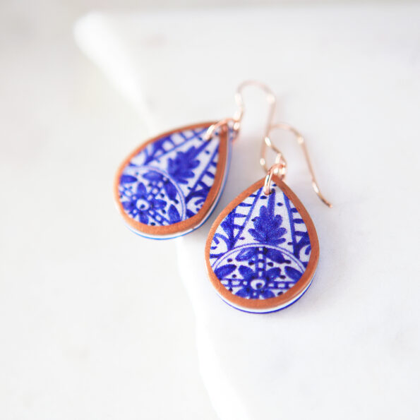 Blue ceramic pattern art earrings -close up next romance jewellery