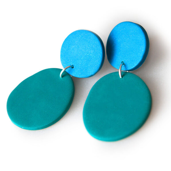 bridget green blue dot studs colourful polymer clay earrings
