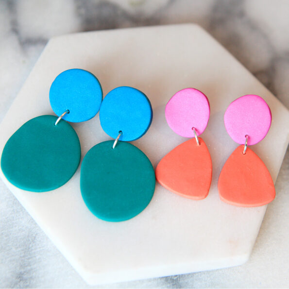 coral triangle studs and green big dots