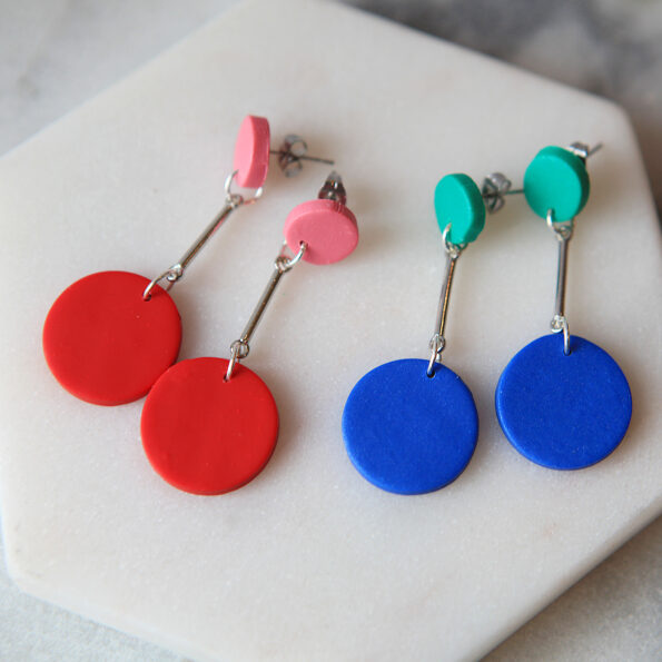 dangle DOT circle stud earrings colourful pop 2 colour new next romance handmade clay jewellery australia