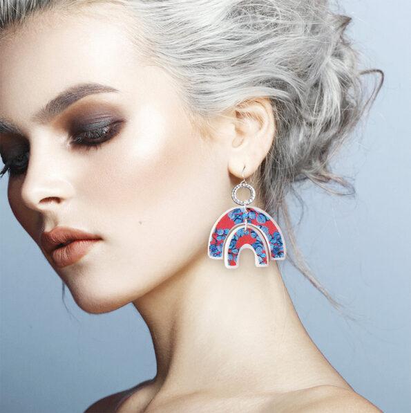 eucalyptus leaf blue gum arch earrings model new next romance handmade jewellery melbourne australia markets