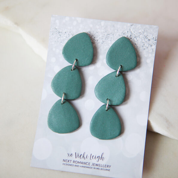 jungle green triangle clay earrings made in australia by next romance jewellery