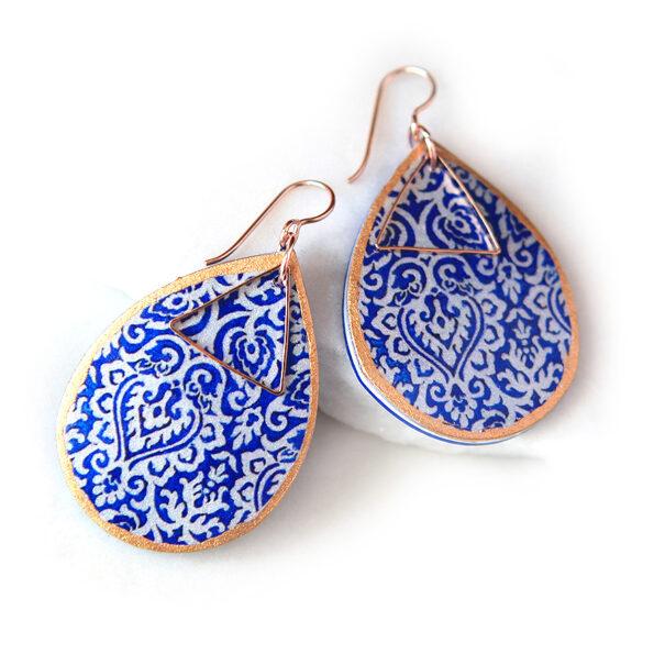 morocco blue rose gold art earring wedding bridesmaid earrings NEXT ROMANCE