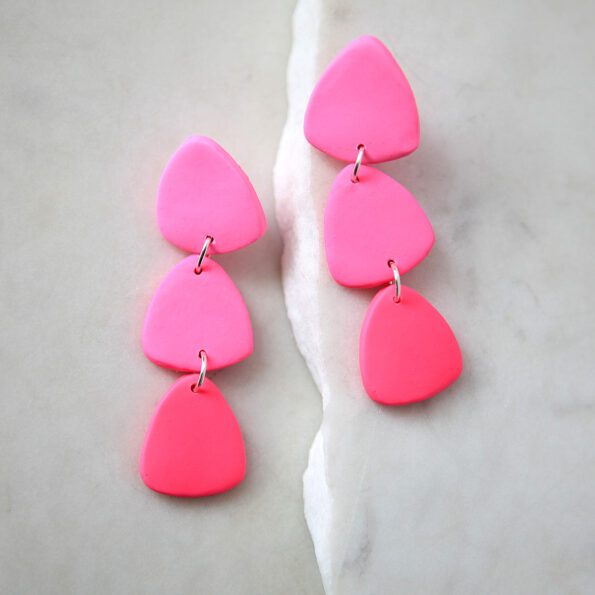 pink gradient earrings next romance triangle clay fun jewellery made in australia