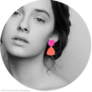 peggy coral and fuschia dot tri earrings NEXT ROMANCE POC project made in melbourne polymer clay