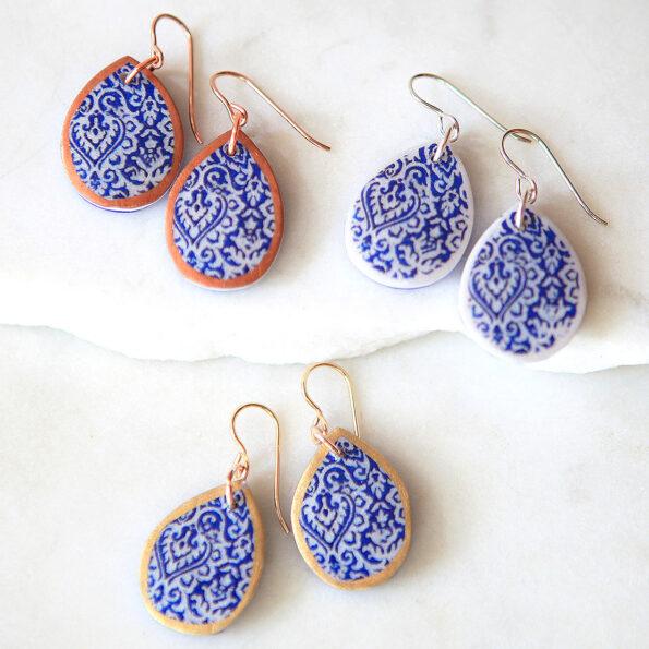 porcelain style teardrop art earrings next romance jewellery Australia