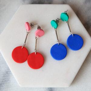 dangle DOT circle stud earrings colourful pop 2 colour new next romance handmade clay jewellery australia