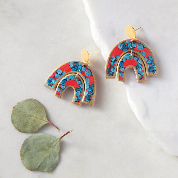 red gold french arch blue gum earrings new next romance jewels