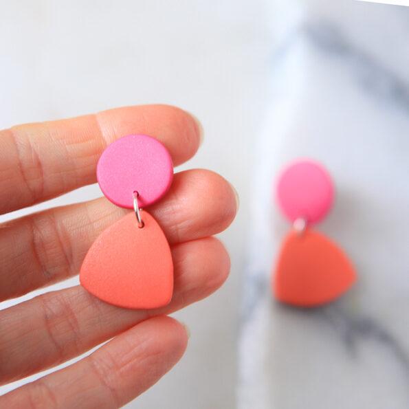 triangle clay dot stud earrings new unique handmade jewellery australia