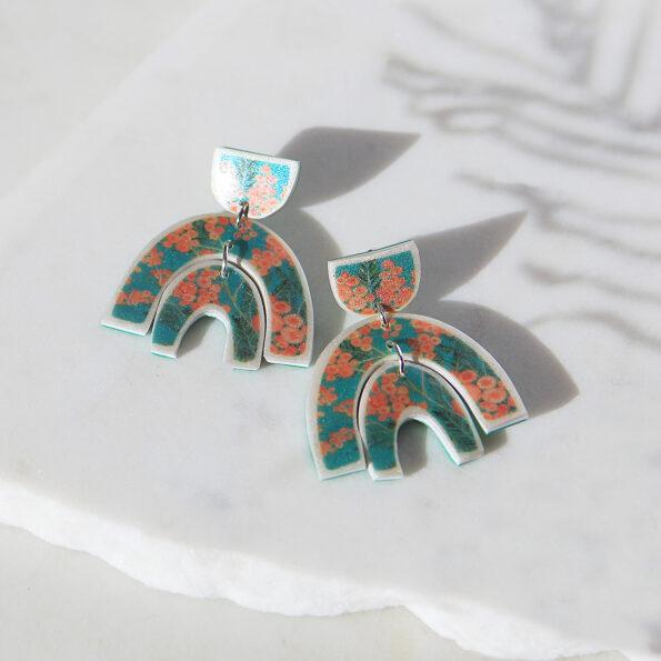 wattle mint art earrings marble sparkle polyresin sterling silver small NEW next romance jewellery melbourne