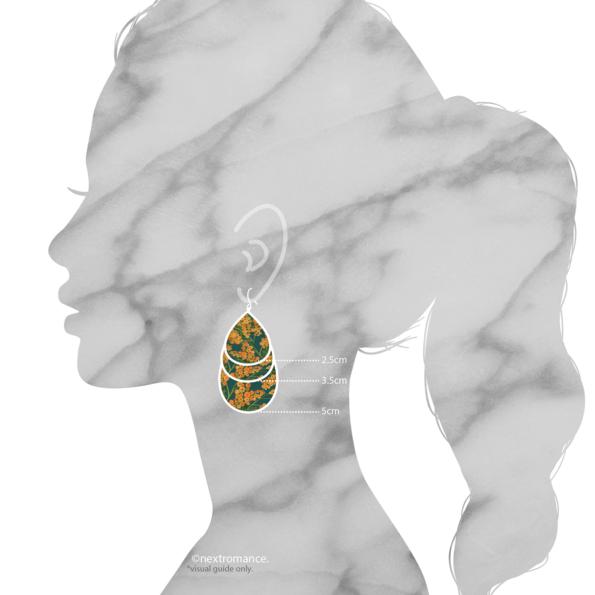 wattle sizes earrings silouhette model