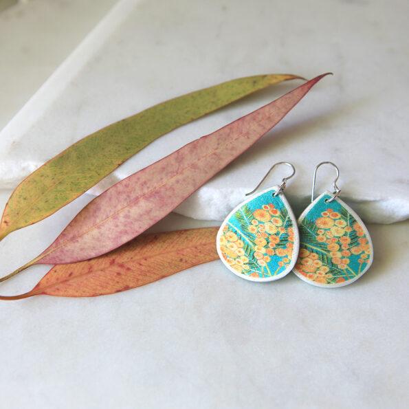wattle teal green earrings new next romance jewellery unique art styles australia