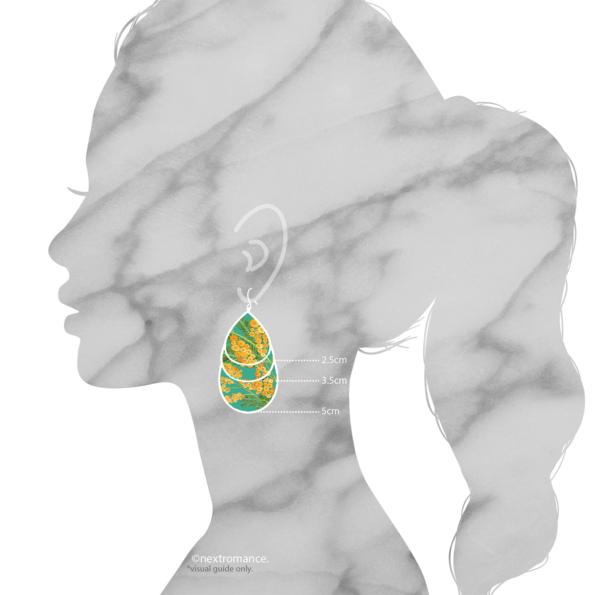 teal green wattle art earrings 5cm teardrop next romance jewellery australia finders keepers marketplace