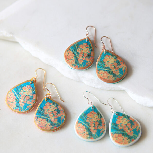 wattle teal sparkle earrings gold silver rose options handmade in australia botanical floral new next romance jewellery
