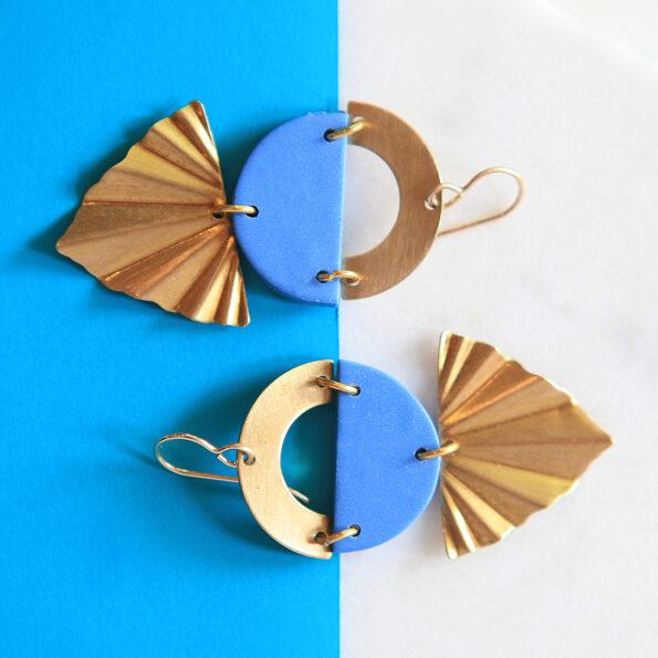 Atomic art deco brass art earrings polymer clay pops of colour new next romance jewellery