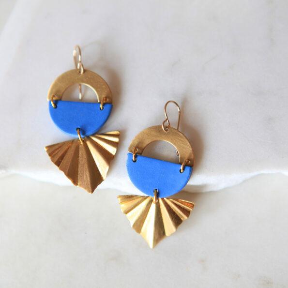 blue art deco brass style earrings Joti next romance jewellery