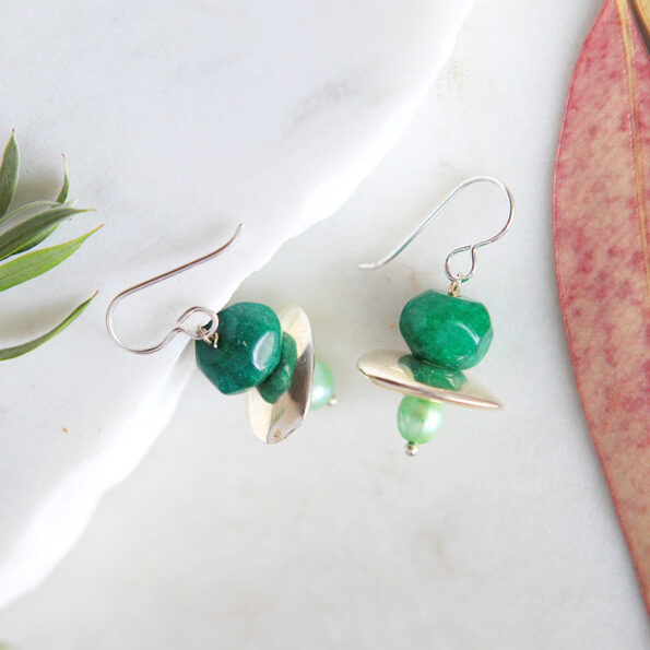 green raw cut emerald galaxy bead earrings new next romance jewellery australia sterling silver