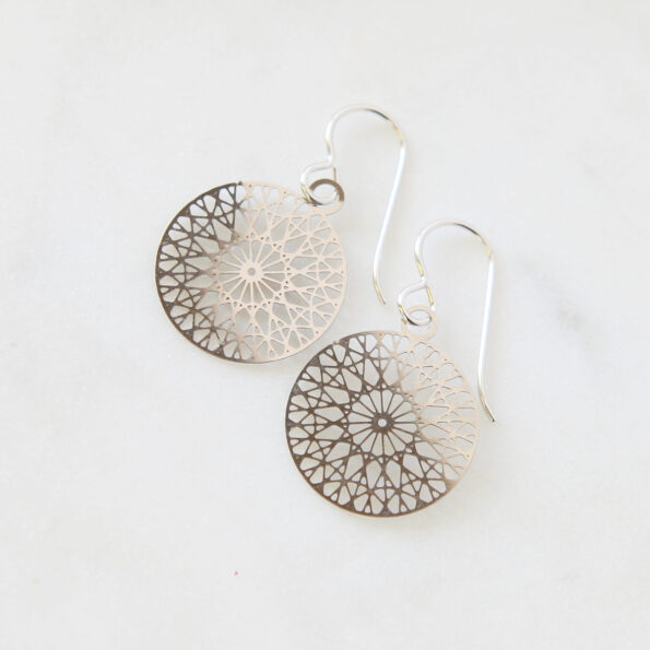 lasercut lazer cutout coin disk earrings - Next Romance geo design silver steel earrings melbourne australia rose street markets finders keepers