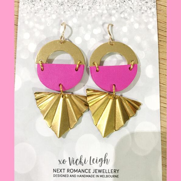 pink brass atomic colour pop art deco style earrings next romance jewellery australia