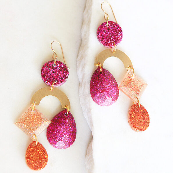 resin mobile earrings pink gem new next romance jewellery