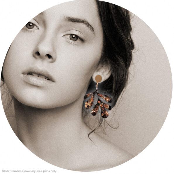 gold glitter matisse style earrings leaf wiggle wattle acacia tree black new next romance jewellery australia