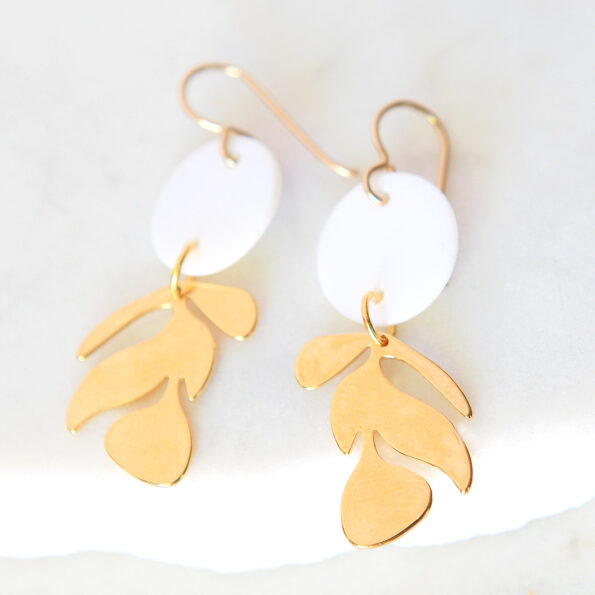 shell gold leaf earrings petite pretty gift new next romance jewellery