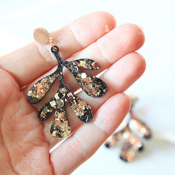 matisse style leaf gold black earrings resin glitter new next romance jewellery australia