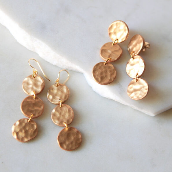 circle hammered clay clay edit coin earrings x3 drop stud or hook new next romance jewellery