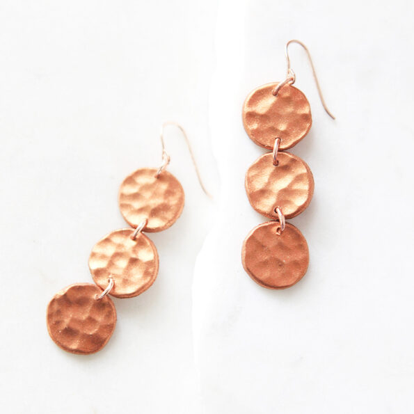 copper hammered 3 coin earrings new next romance jewellery handmade australia