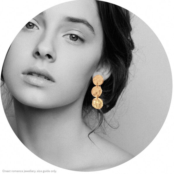 circle hammered clay gold hammered coin earrings x3 drop stud or hook new next romance jewellery model