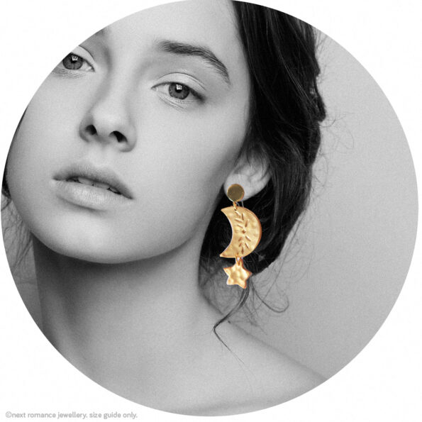 MOON CHILD little star dangly art earrings stud or hooks silver gold or copper clay model