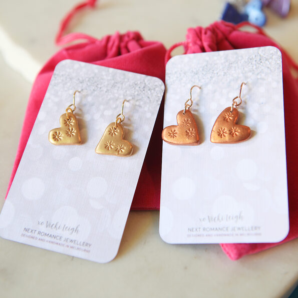 love bug heart hook dangley earrings unique clay lightweight next romance jewellery australia