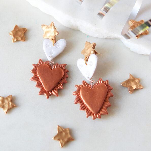 romeo lover bug heart star earrings aquarius next romance jewellery