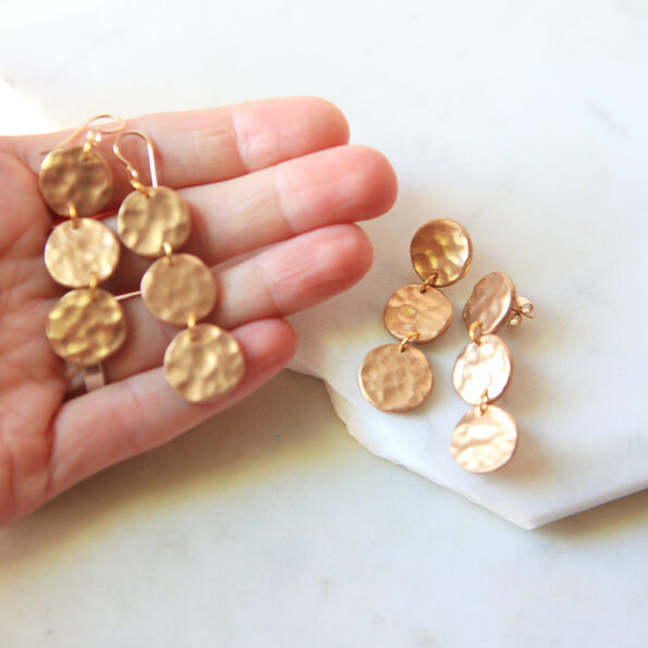 circle hammered clay gold hammered coin earrings x3 drop stud or hook new next romance jewellery